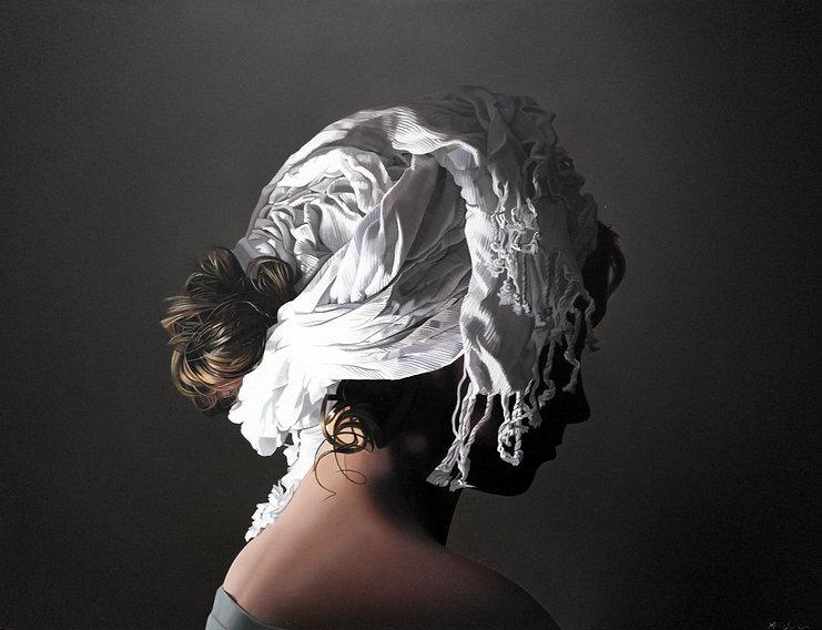 Oil Painting Michael de Bono Fine Art realism woman wearing a white headdress