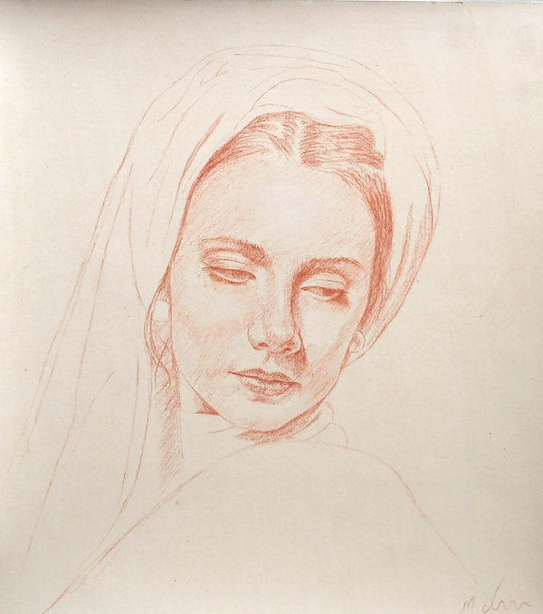 Conté drawing for sale by Michael de Bono of a woman in a headdress traditional realism contemporary 2021