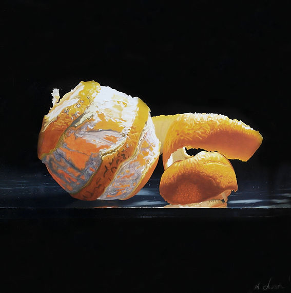 Photo realism oil painting of an orange with peel