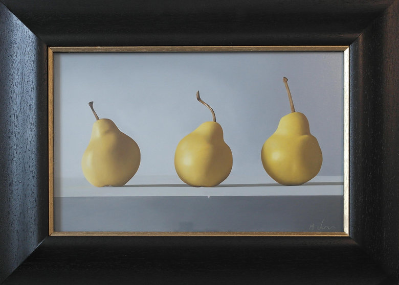 oil painting of three pears by michael de bono