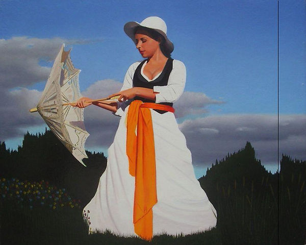 Oil Painting Michael de Bono Fine Art realism woman with parasol