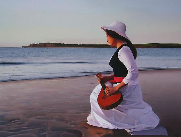 Oil Painting Michael de Bono Fine Art woman wth a mandolin at the shore