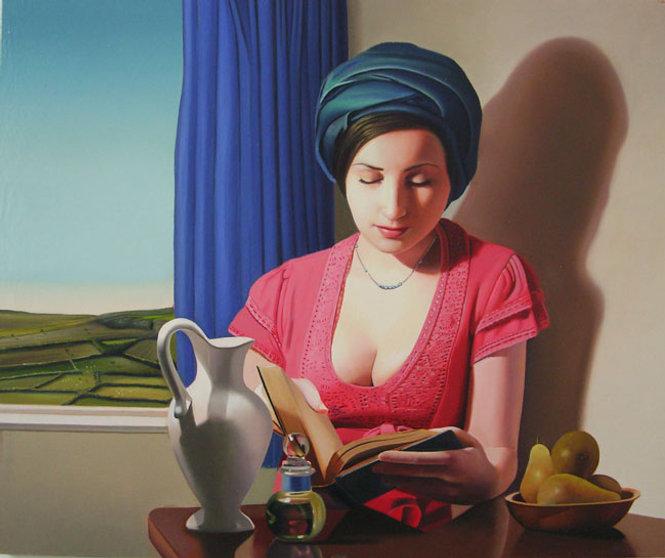 Oil Painting Michael de Bono Fine Art woman reading in sunlight realism