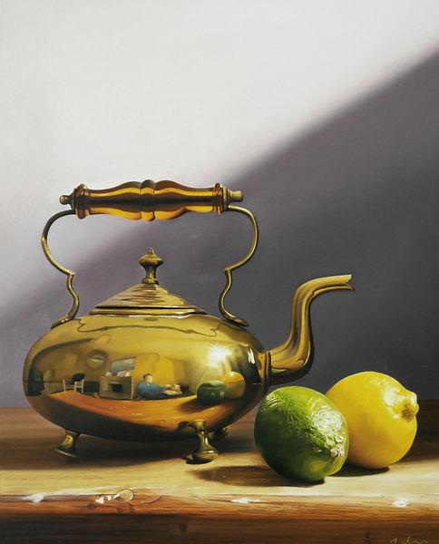 Brass Kettle photorealism fine art painting stil life by Michael de Bono fine artist