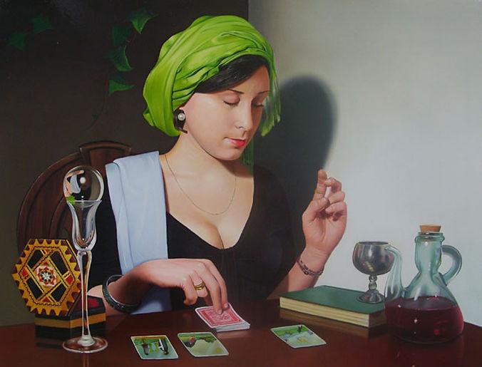 Oil Painting Michael de Bono Fine Art contemporary realism amazing detail fortune teller