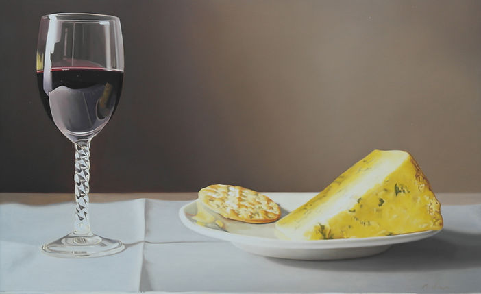 Art Wine glass on table with chees and cracker oilpainting realism
