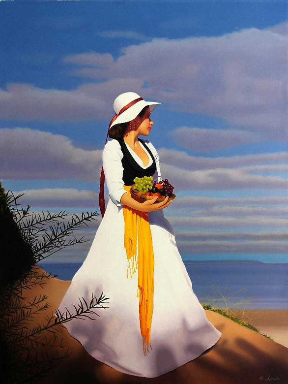 Oil Painting Michael de Bono Fine Art realism woman with  bowl of friut