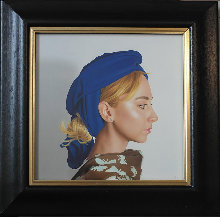 oil painting of a lady wearing a blue headdress