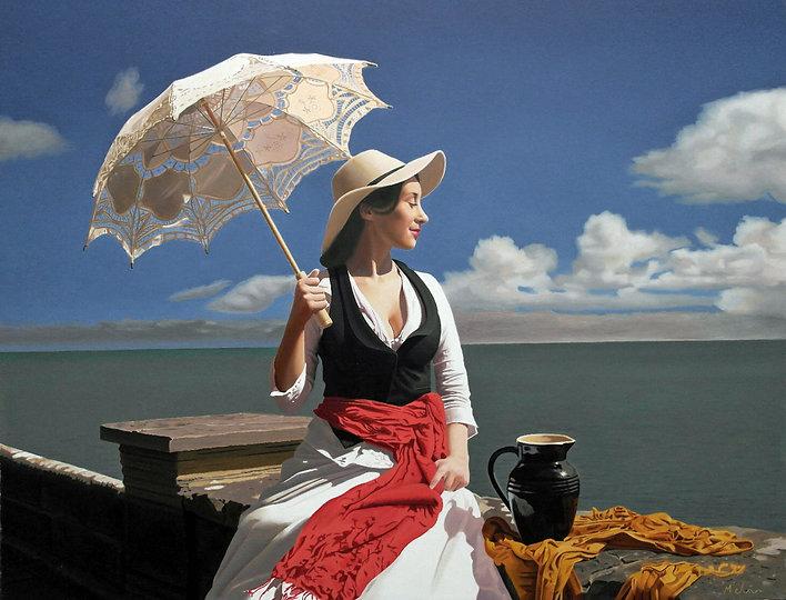 Oil Painting Michael de Bono Fine Art woman holding a parasol realism