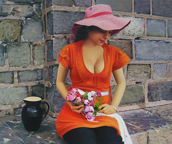 Oil painting for sale by Michael de Bono artist woman holding flowers