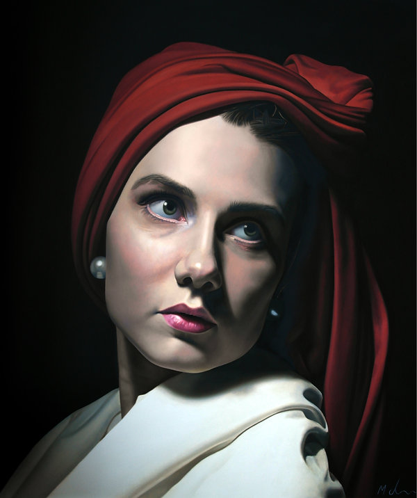 painting by Michael de Bono artist woman wearing a red headdress after Caravaggio realism oil painting contemporary fine art