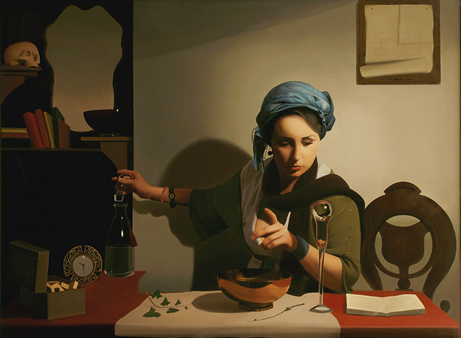 Oil Painting Michael de Bono Fine Art realism prize winner of Lynn painetr stainers woman fortune teller