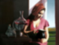 OIL PAINTING BY MICHAEL DE BONO OF A BEAUTIFUL WOMAN HOLDING A BLACK JUG