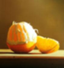 Fine art oil painting by Michael de Bono artist still life realism orange in sunlight on a wooden table