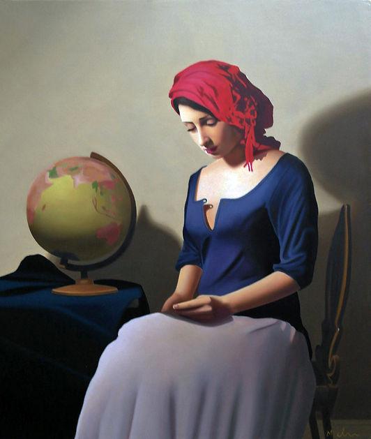 Oil Painting Michael de Bono Fine Art cotemporary realism woman sat on chair