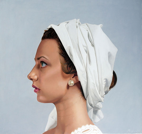painting by Michael de Bono artist oil painting contemporary fine art woman wearing a white headdress
