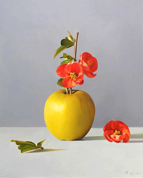 Oil Painting Michael de Bono Fine Art still life realism apple with blossom