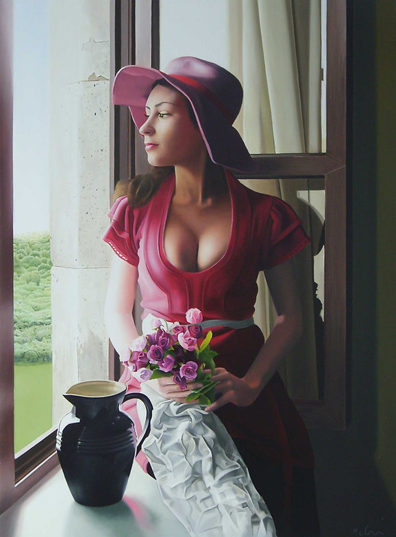 Oil Painting Michael de Bono Fine Art realism woman holding flowers looking out of window