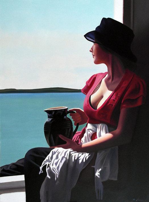 Oil Painting Michael de Bono Fine Art realism woman in red shirt