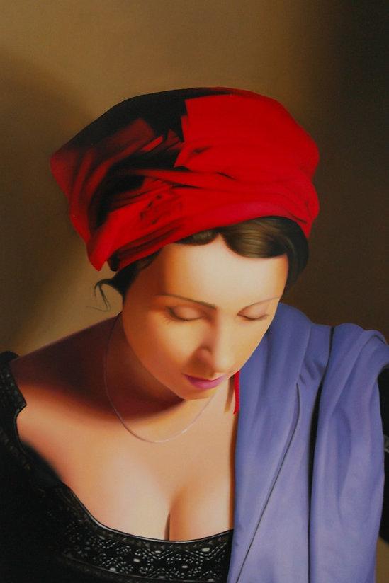 Oil Painting Michael de Bono Fine Art woman wearing a red headdress