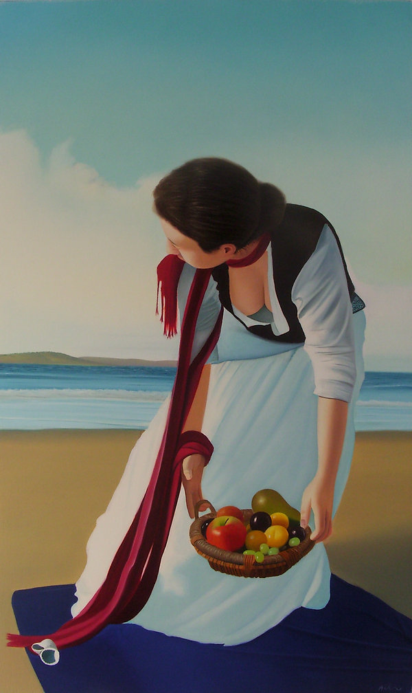 oil painting for sale of a woman with fruit by the beach