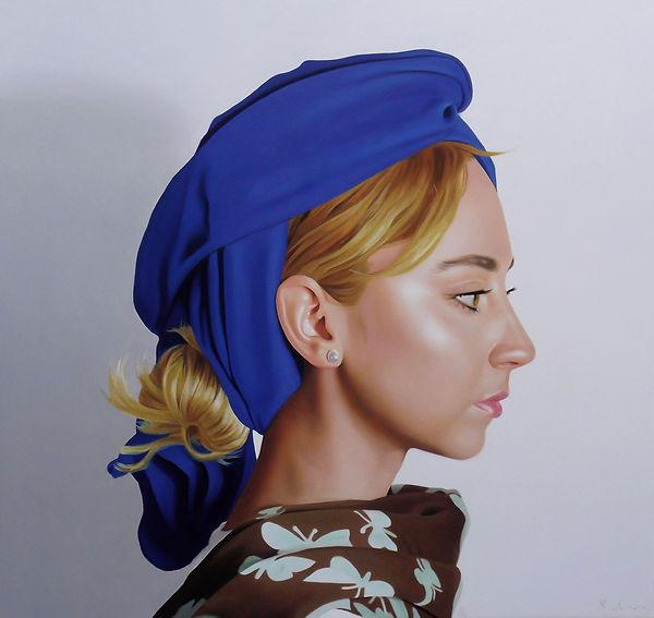 painting by Michael de Bono artist woman wearing abl painting contemporary fine art headdress portrait