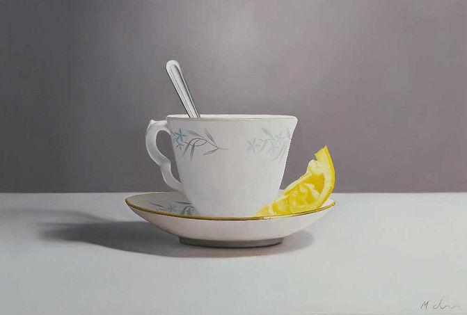 Oil Painting Michael de Bono Fine art still life realism tea cup with lemon