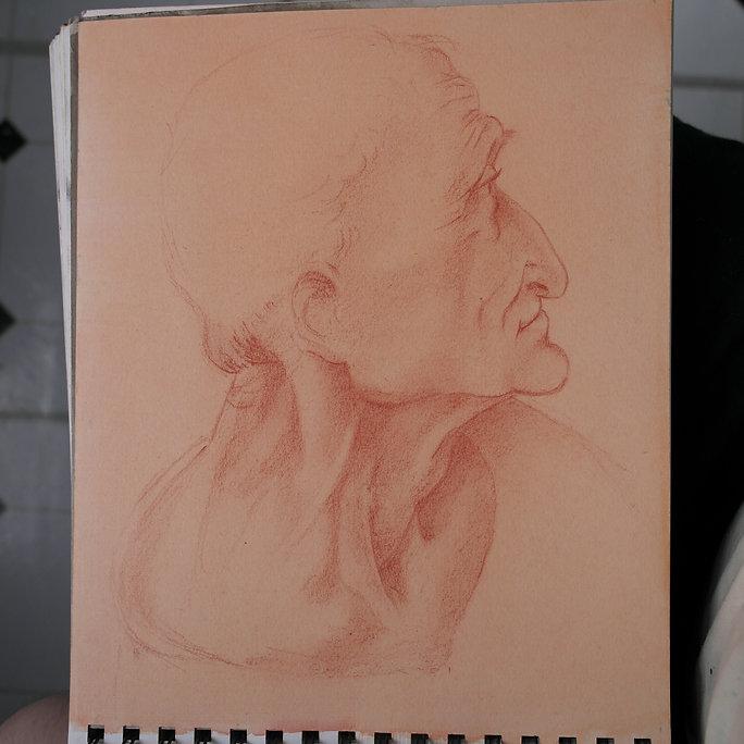 Drawing in chalk of an old man realism fine art by Michael de Bono