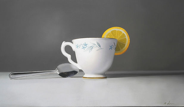Oil Painting Michael de Bono Fine Art realism still life cup with spoon