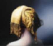 Oil Painting Michael de Bono Fine Art photorealism woman wearing a golden headdress