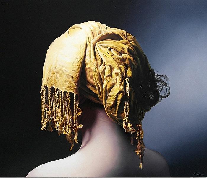 Oil Painting Michael de Bono Fine Art photorealism woman wearing a golden headdress