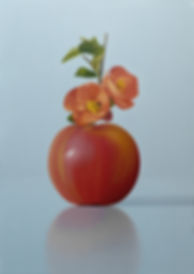 A painting of a red apple with blossom