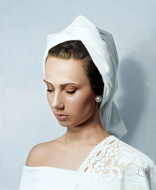 Woman wearing a white headdress oil painting realism contemporary