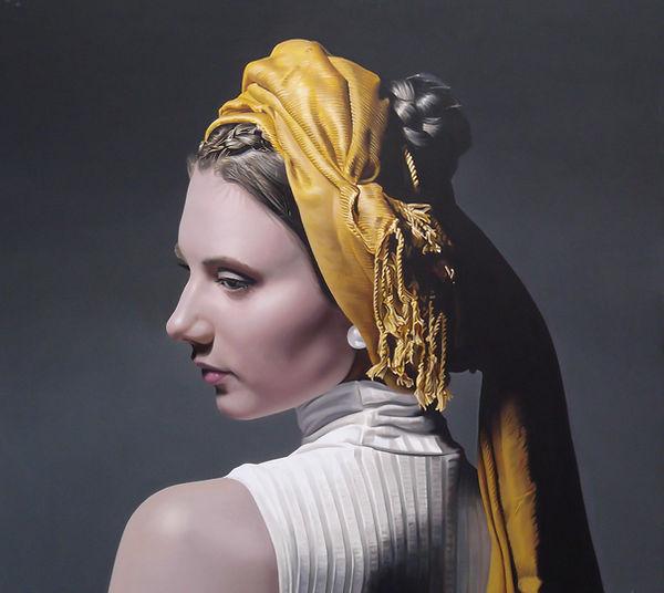 painting by Michael de Bono artist woman wearing a golden headdress portrait realism oil painting contemporary fine art