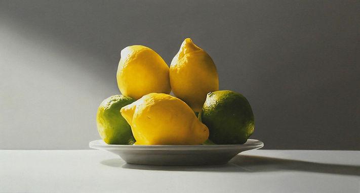 Oil Painting Michael de Bono Fine Art still life realism lemons and limes on a plate