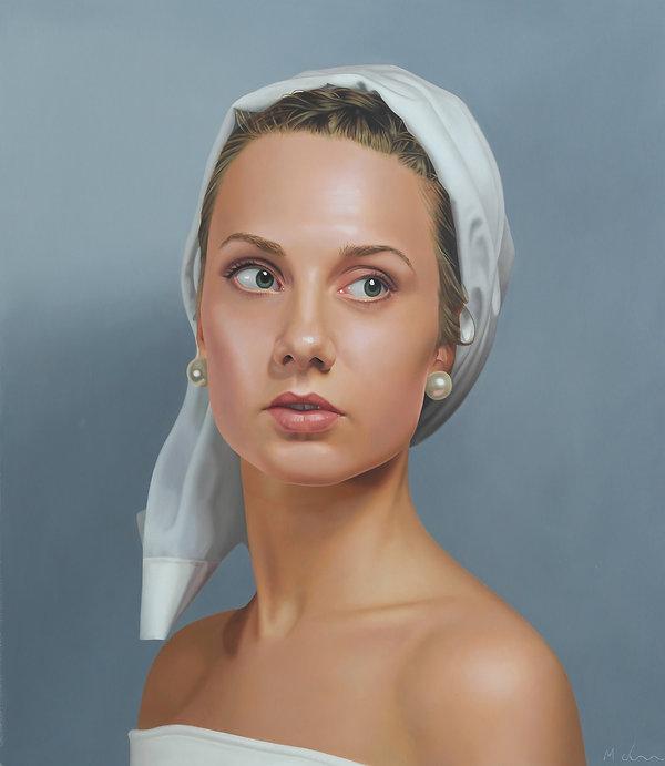 painting portrait by Michael de Bono artist woman wearing a whit headdress realism oil painting contemporary fine art
