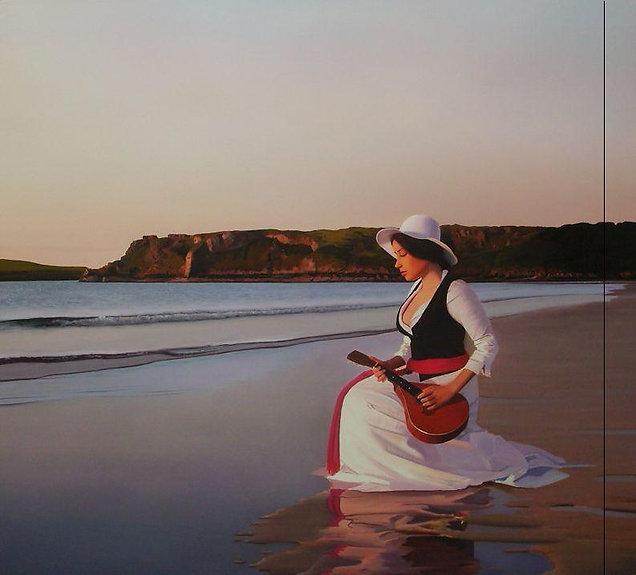 Oil Painting Michael de Bono Fine Art realism woman with guitar