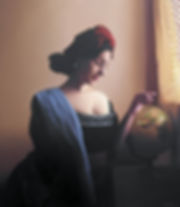 oil painting of a woman holding scale like vermeer