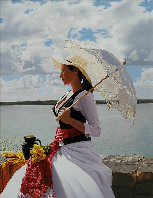Oil Painting Michael de Bono Fine Art realism woman sat on wall in white dress holding parasol