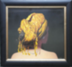 oil painting of a woman in a golden headdress