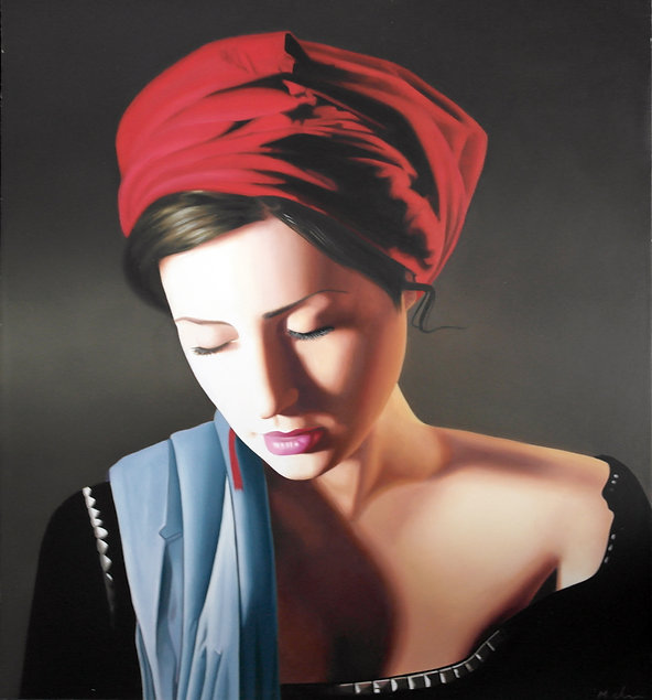 Oil Painting Michael de Bono Fine Art realism woman wearing a red headdress