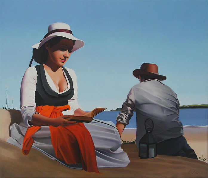 Oil Painting Michael de Bono Fine Art womn and man in hats by the sea