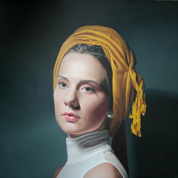 painting by Michael de Bono artist woman wearing a golden headdress realism oil painting contemporary fine art