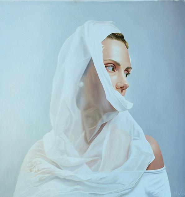 painting by Michael de Bono artist woman wearing a white veil oil painting contemporary fine art