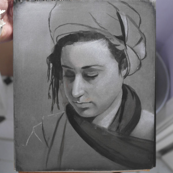 A drawing of a woman realism fine art