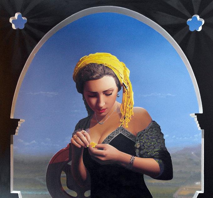 Oil Painting Michael de Bono Fine Art woman holding  flower realism