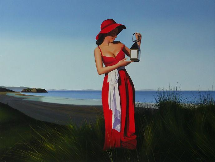 Oil Painting Michael de Bono Fine Art realism woman in a red dress holding a lantern