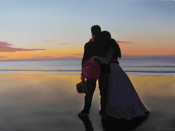 oil painting of a couple in love at the beach