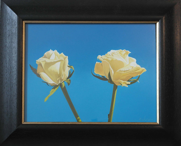 oil painting of two roses