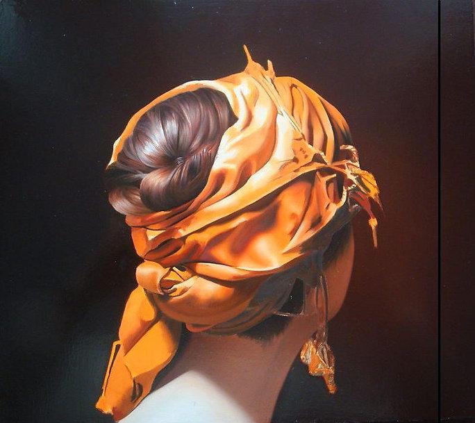 Oil Painting Michael de Bono Fine Art realism woman wearing a gold headdress
